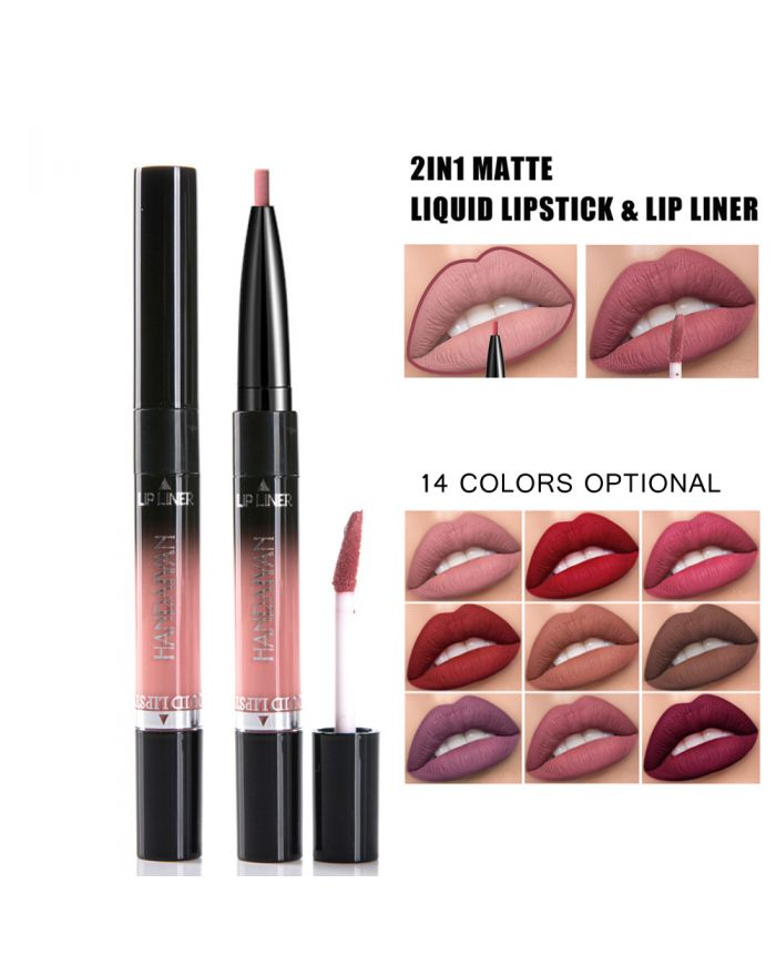 2in1 non-fading lip gloss and lip liner