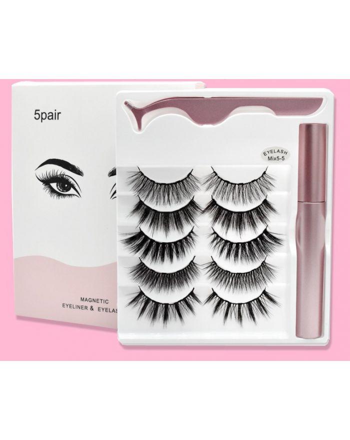 5 pairs mixed magnetic false eyelash eyeliner set