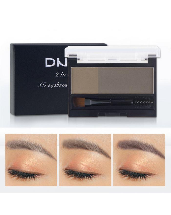 Two-color eyebrow powder with eyebrow brush